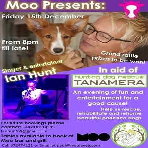 Moo Presents Ian Hunt and Hosts a Fundraiser for Tanamera @ Moo Bar and Restaurant | Xàbia | Spain