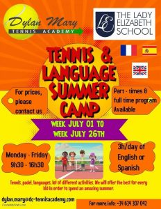 Tennis & Language Summer Camps at  Lady Elizabeth School @ Spain