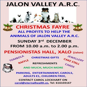 Jalon Valley Arc Christmas Fayre @ Pensionistas Hall