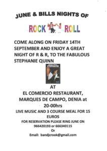 Rock n Roll Night – El Comercio Rte. with Stephanie Quinn @ El Comercio Rte | Dénia | Comunidad Valenciana | Spain