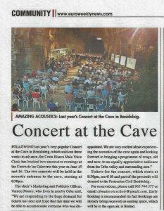 Costa Blanca Male Voice Choir at the Caves Benidoleig @ Cueva de las Cavaleras   Benidoleig   Comunidad Valenciana   Spain