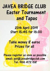 Javea Bridge Club Easter Tournament & Tapas @ Platja de l'Arenal | Comunidad Valenciana | Spain