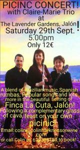 Picnic Concert with Claire Marie Trio @ Lavender Gardens | Llíber | Comunidad Valenciana | Spain