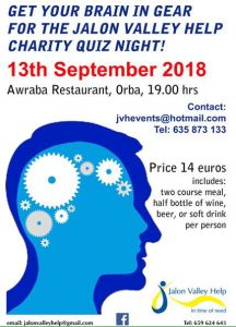 Jalon Valley Help Quiz Night @ Awraba | Orba | Comunidad Valenciana | Spain