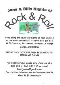 Rock n Roll Night with Stephanie Quinn @ El Comercio Rte | Dénia | Comunidad Valenciana | Spain