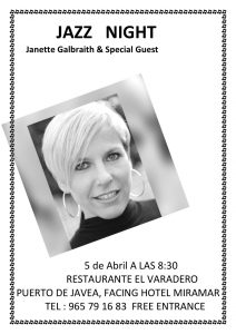 Jazz Night with Janette Galbraith at El Varadero . @ El Varadero   Jávea   Comunidad Valenciana   Spain