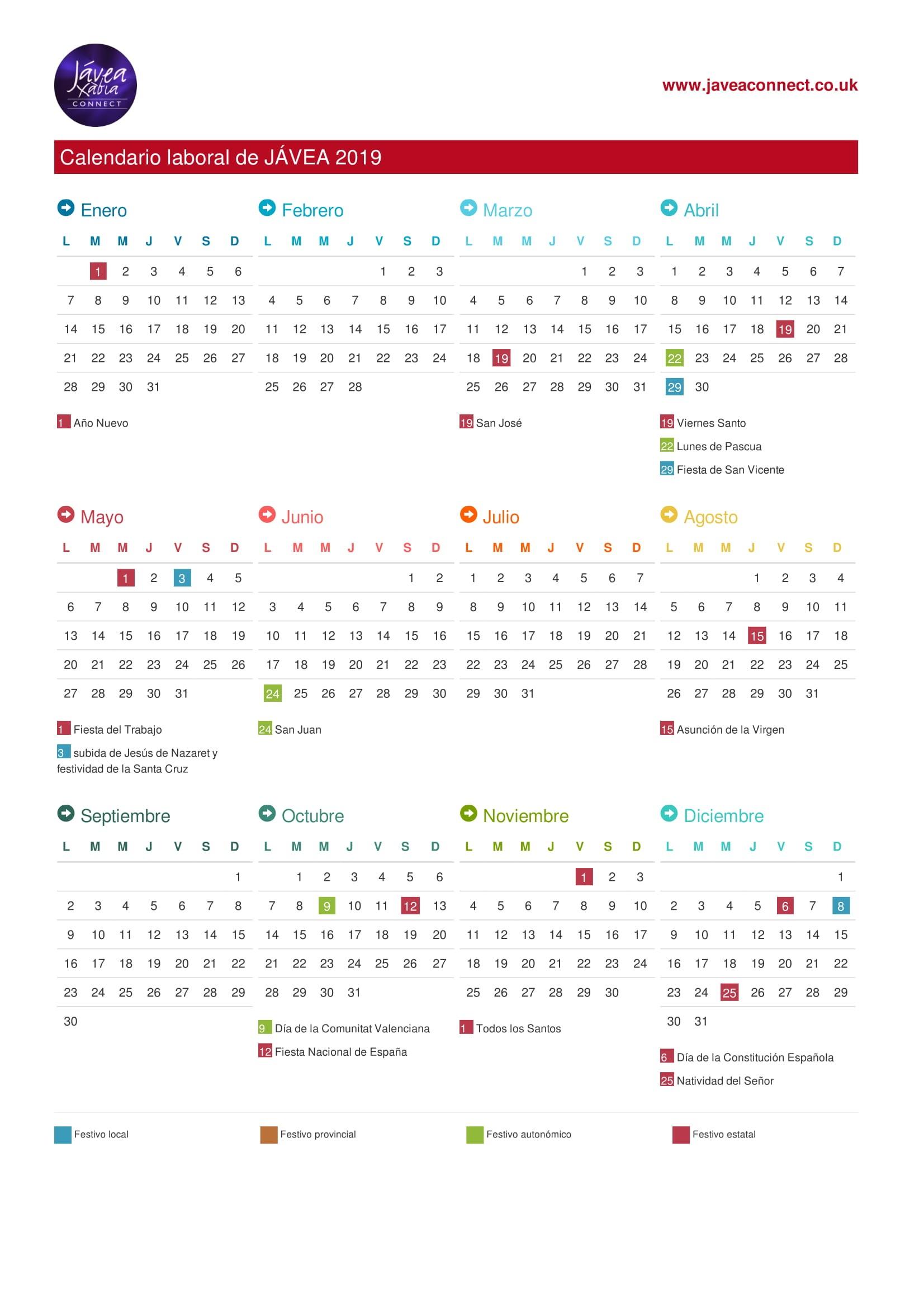 Calendario Laboral Javea 2020.Javea National Regional Local Holidays 2019 Javea Connect
