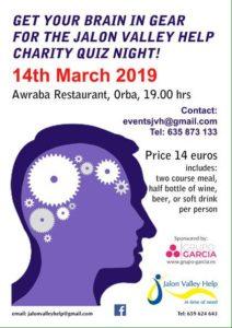 Jalon Valley Help Quiz Night @ Awraba | Orba | Comunidad Valenciana | Spain
