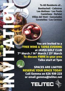 Free Wine and Tapas Night Hosted by Telitec at Javea Golf Club @ Club de Golf | Jávea | Spain