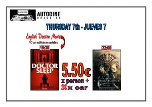 Doctor Sleep + Cuidad Blanca In English at the Drive In Denia @ Dénia | Comunidad Valenciana | Spain