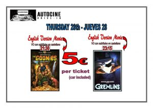 Goonies and Gremlins In English.. at the Drive In Denia @ Dénia | Comunidad Valenciana | Spain