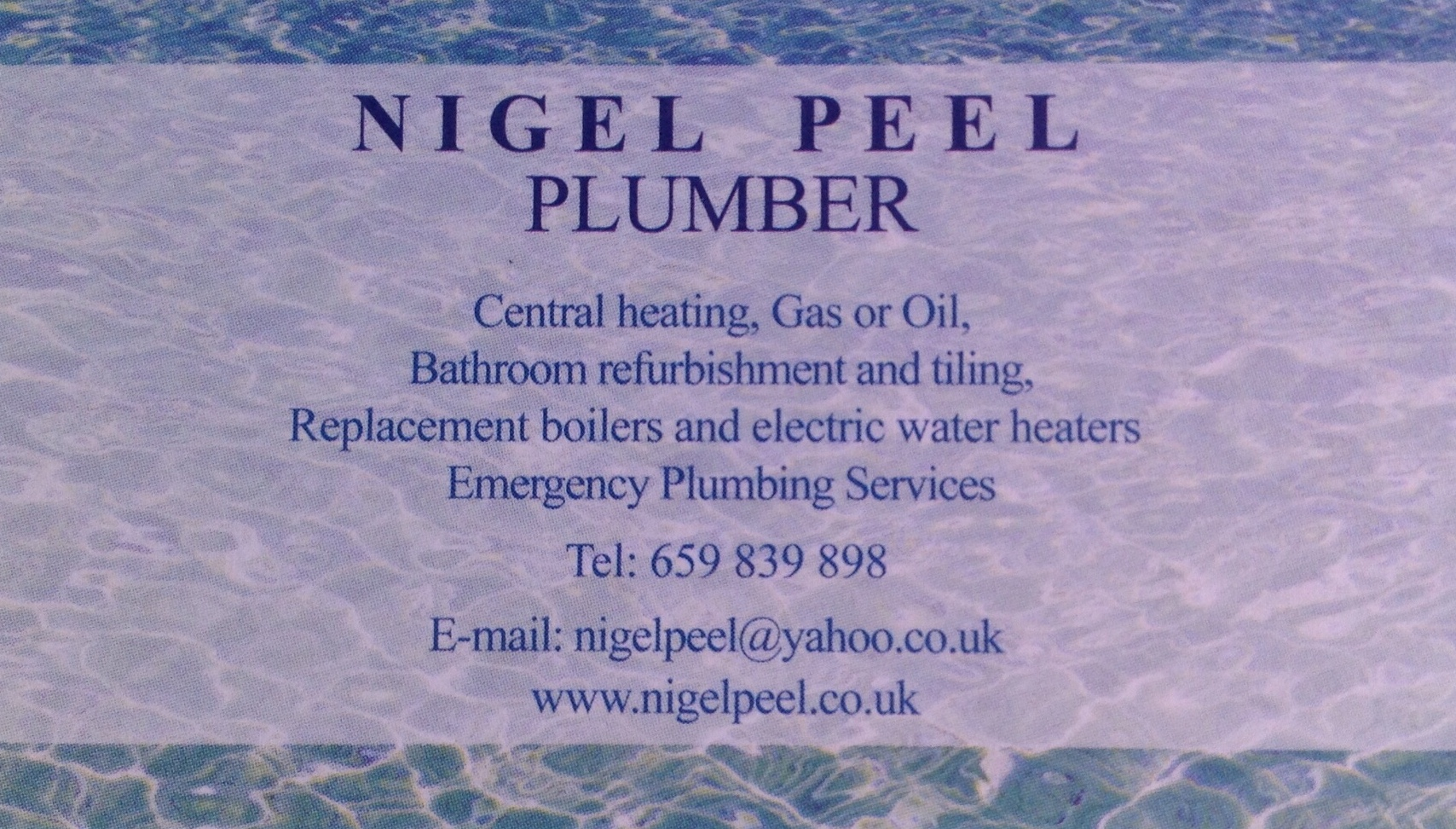 Nigel Peel, Plumber and Heating Engineer