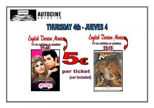 Grease and Indiana Jones In English.. at the Drive In Denia @ Dénia | Comunidad Valenciana | Spain