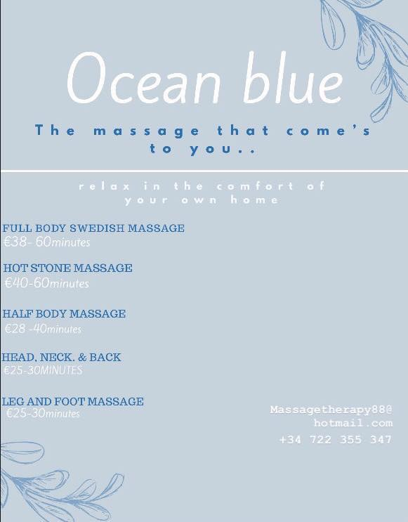 Ocean Blue… the massage that comes to you.