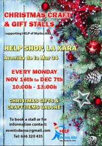 Christmas Craft & Gift Fair @ Help Charity Shop | La Xara | Comunidad Valenciana | Spain